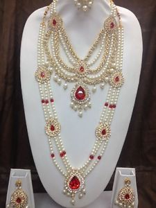 Gorgeous ! Bridal Party Necklace Set With Matching Earrings & Tikka In Pearl | eBay
