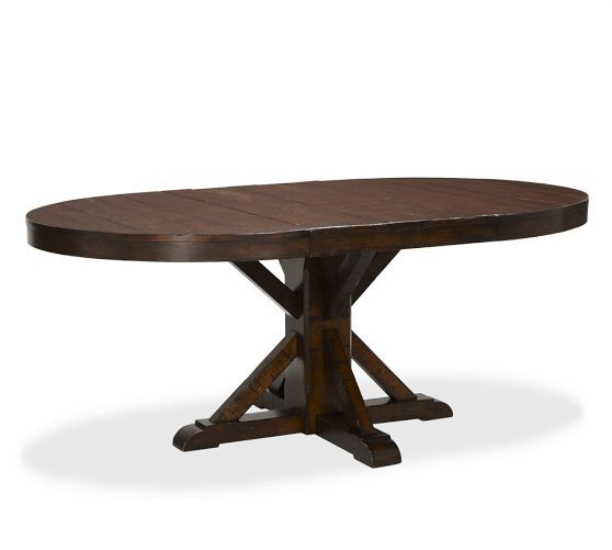 Benchwright Extending Pedestal Dining Table - Rustic Mahogany stain | Pottery Barn