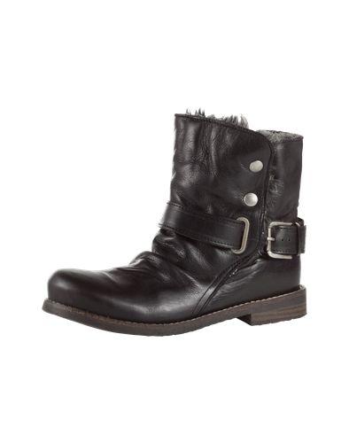 #BUFFALO #Damen #Biker #Boots #schwarz Stiefelette von Buffalo aus Leder im easy Slip-On-Stil. Der Schaft kann jedem Outfit individuell angepasst werden – geknöpft oder locker umgeschlagen. So sorgt das wärmende Futter in Felloptik für coole Looks.