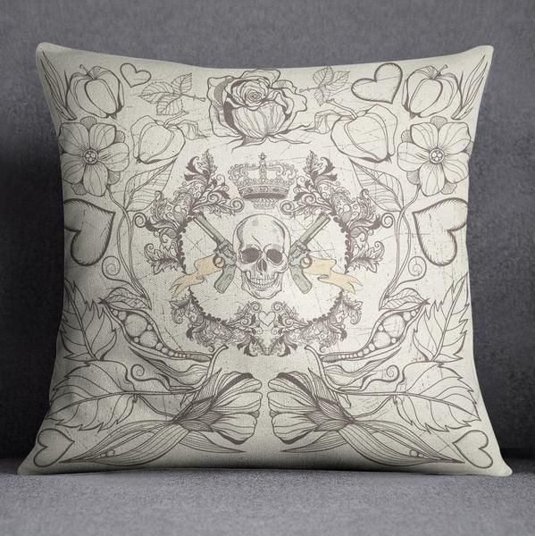 Detailed Skull with Guns Decorative Throw Pillow
