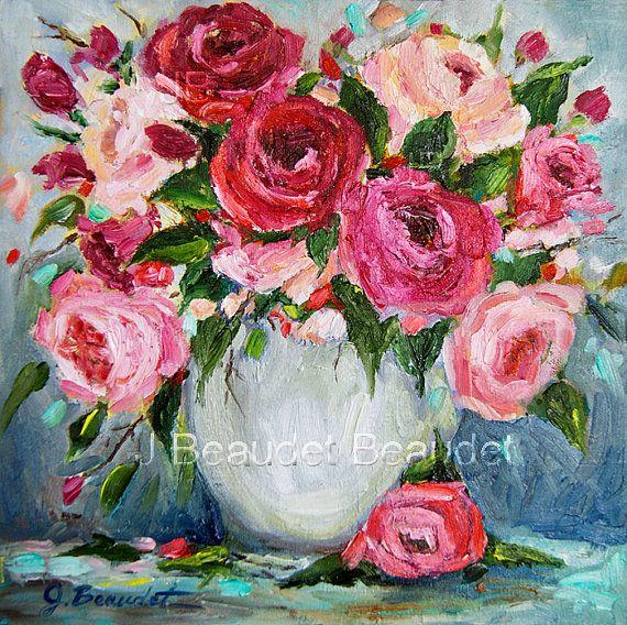 Impresión de originales óleo rosas pintura floral shabby chic decoración impresionista cuadrados decoración de la pared  Ramo de rosas 8 x 8 Giclee en el papel   Mientras que los colores pueden variar en su monitor, se ha realizado todo esfuerzo para captar los colores reales de la pintura.  ¡Gracias por pasarte!  Por favor visite mi blog en beaudetart.blogspot.com  Ver otros artículos en mi tienda aquí-http://www.etsy.com/shop/JBeaudetFineArt?ref=si_shop  Todos los derechos para reproducir…