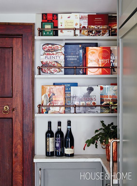 20 stunning ways to store books in your kitchen, including this gorgeous custom bookshelf!