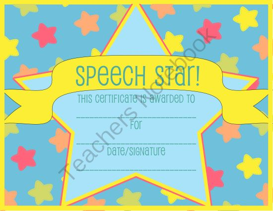 Speech therapy certificate diploma from thespeechstress for Speech contest certificate template