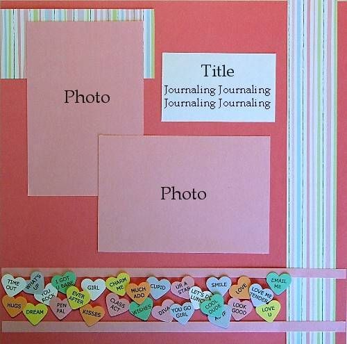 perfect for hayden's valentine project page, just change the background color scrapbook ideas | Valentines Day Scrapbook Ideas