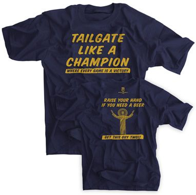 Notre Dame Football Tee for the FAMOUS , OUTRAGEOUSLY ELEGANT Tailgaters held each Home game Day!