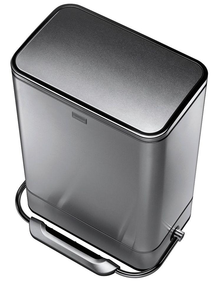 Simplehuman Modern Stainless Steel Rectangular Soft Close Kitchen Pedal Bin, 38L | not-available | DIY at B&Q