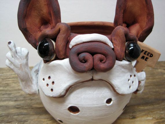 Red Boston Terrier Pottery Candle Holder by SquareDogPottery