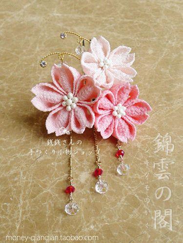 【完售】【櫻·華】(进口包金水晶配件)和风布花簪/和服发饰-淘宝网