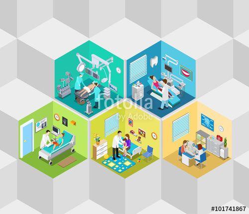 Vector: Hospital clinic interior operation ward flat isometric vector 3d