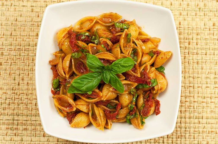 Balsamic and Sun-Dried Tomato Conchiglie: A versatile pasta side dish made with conchiglie (shells), sun-dried tomatoes, fresh basil and a wonderful, ready-made balsamic reduction.