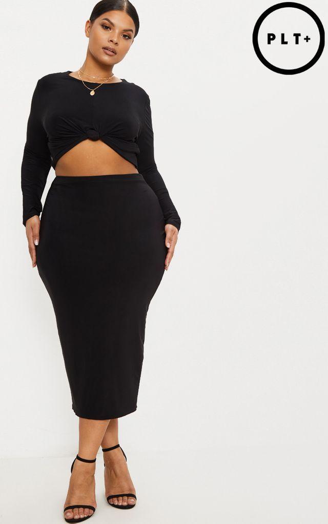 4c97a356f6 Plus Black Slinky Midi Skirt | office closet | Plus size skirts ...