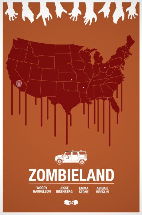 Zombieland [2009] if you know what the little white dots are your a true Zombieland fan...or your just good at geography..
