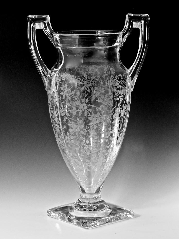 Tiffin crystal handled floral etched art deco vase urn 11 for Jardin glass vases 7 in