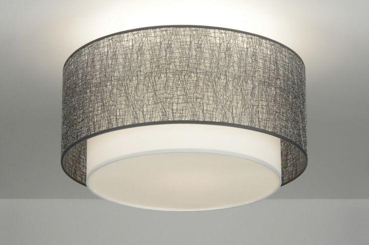 Plafondlamp 88540 modern design stof wit zilver rond, rietveld, 130 euro