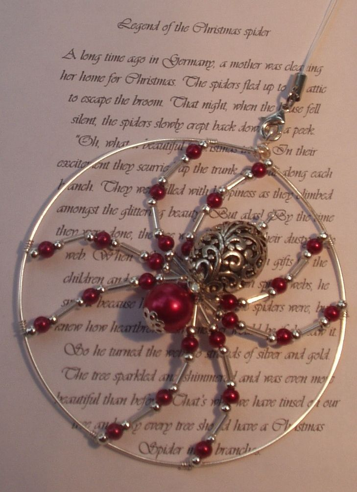 The legend of the Christmas spider (red glass pearl) - The Supermums Craft Fair…