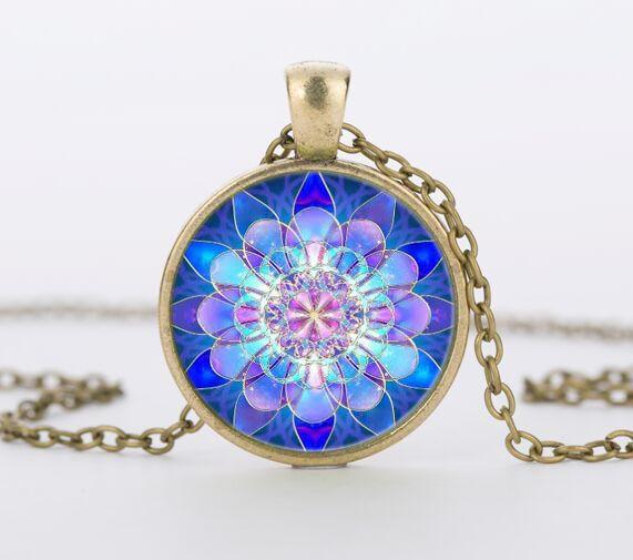 vintage blue mandala lotus necklaces & pendant henna yoga necklace dome glass handmade jewelry om symbol buddhism zen c-n 867