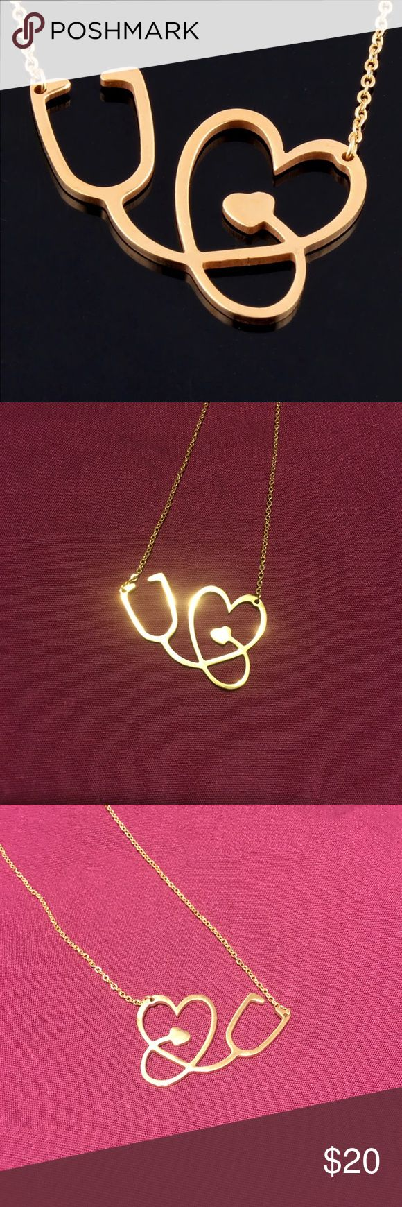 18k Gold Plated Heart Stethoscope Necklace 18k Gold Plated Heart Stethoscope Necklace. Perfect to give as a gift to a nurse, medical assistant, Doctor, or anyone else in a medical profession! They are brand new and come in rose gold, regular gold, and silver. Multiple are available. No trades. Jewelry Necklaces