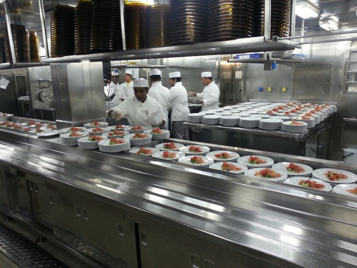 Backstage kitchen view of the cruise ship Costa Magica