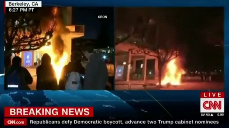 Breaking News: Violent Protest Erupts at UC Berkeley Over 'Alt right' Breibart Speaker Milo Yiannopoulo  Protesters hurled smoke bombs broke windows and sparked a massive bonfire Wednesday night prompting University of California at Berkeley officials to cancel a talk by a polarizing editor of Breitbart News out of safety concerns. Advertisement  The decision was made two hours before the appearance of Milo Yiannopoulos because a crowd of more than 1500 had gathered outside the venue the…