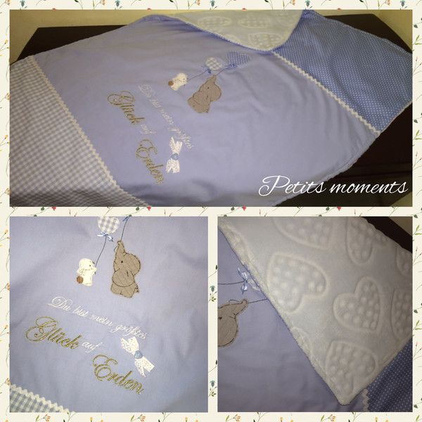 Babydecken - Babydecke Kuscheldecke Stickerei Elefant & ... - ein Designerstück von Petits-moments bei DaWanda