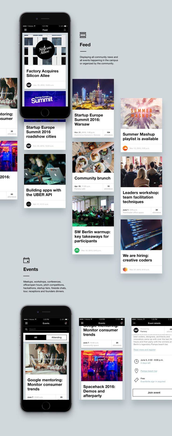 Community app for Factory campuses on Behance