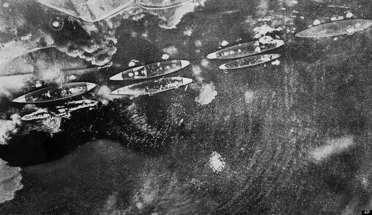 This Dec. 7, 1941 image shows a Japanese Navy aerial view of smoking U.S. ships during the attack on Pearl Harbor, Hawaii. (AP Photo/Japanes...