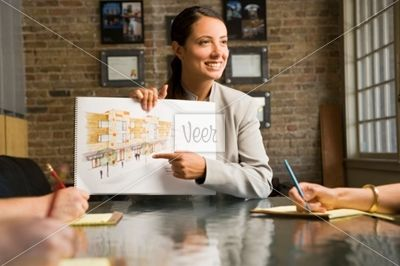 Female architect in a meeting Stock Photo