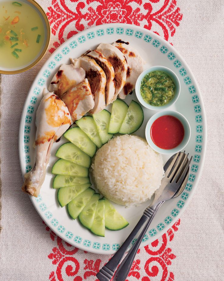 "Poh's Hainanese chicken rice - she says it's adaptable what you put in the chicken & ""add more of what you love"" - kaffir lime is an idea."