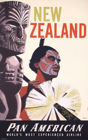 New Zealand destination advert from PanAm. (We are still here ;) Retro/Deco style... Antony
