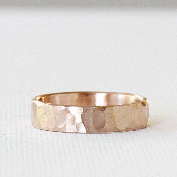 carved wedding band in 14k rose gold, eco friendly, men's wedding ring, women's wedding band, solid recycled gold, handmade