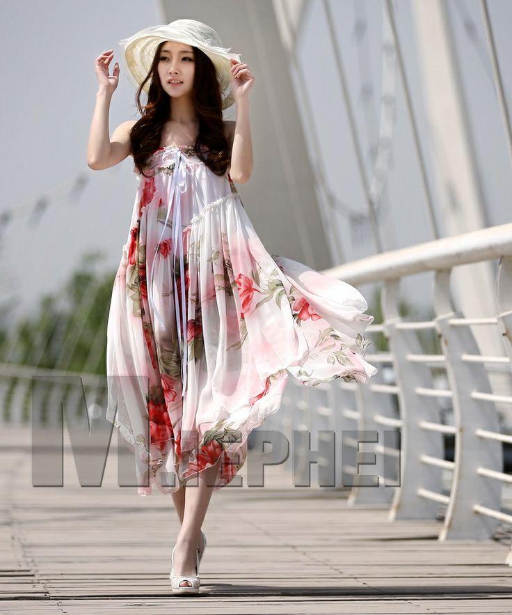 long lilac chiffon tube top dresses   Summer tube top flower print chiffon dress maxi long dress expansion ...