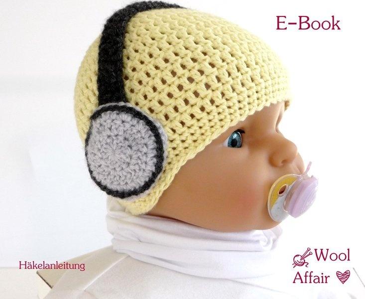 headphones for babies on the cap Mütze für coole Zwerge mit Häkel-Kopfhörer Häkelanleitung crochet pattern