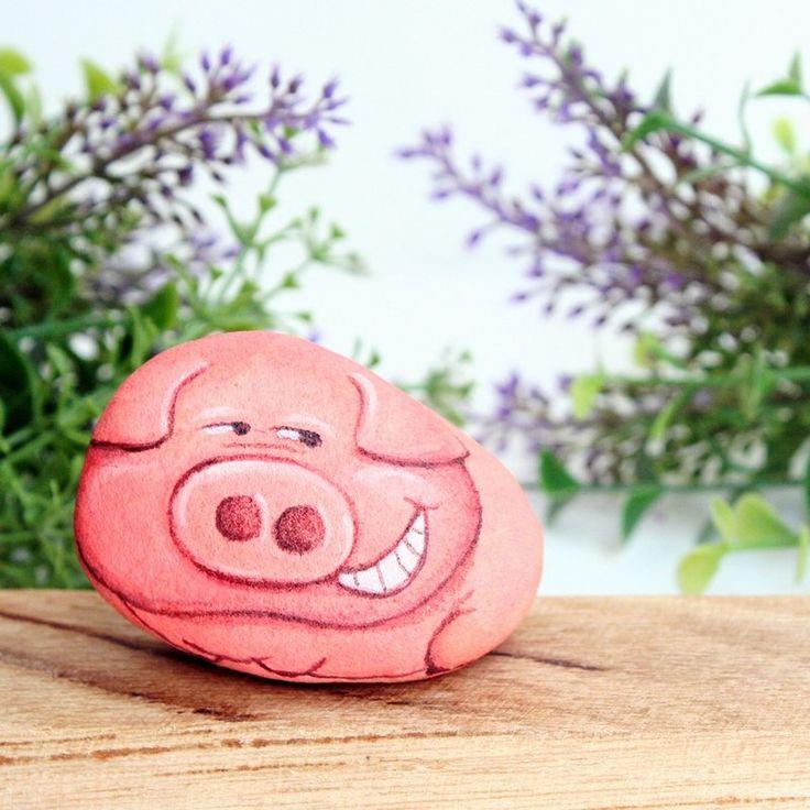 Pig pink stone painting - Designer Is.ideastone - Pinkoi