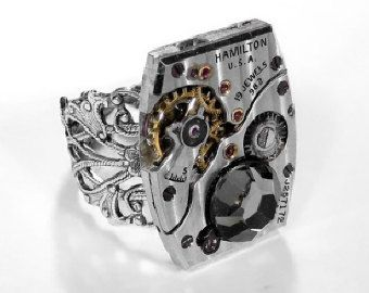 Steampunk Jewelry Mens Watch Ring Vintage Ruby Jewel by edmdesigns