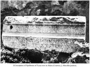 """Apollonius of Tyana (Tyana is Today's Kemerhisar, a town near Bor, Niğde, Turkey),  in the 1970's, an inscription was found in Mopsuestia, not too far away from Aegae, which proves the existence of Apollonius.  Apollonius Inscription is in Adana Museum, Turkey. """"Apollonius named after Apollo, born in Tyana, and a bearer of light, whom heaven sent to earth to extinguish human transgressions and free mortal men from sufferings.""""  #apollonius  #turkey #tyana #aegae"""