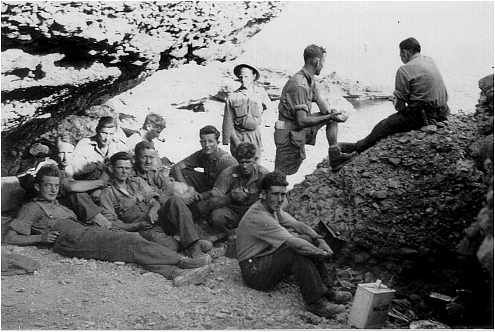 Battle for Crete, Photos 1941, Then and Now 1941: Shelter at coast near Chora Sfakion. Waiting for escape to Alexandria
