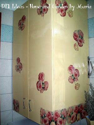 DIY Ideas - Home and Garden by Maria: Decoupage - Ντεκουπάζ Μεταμόρφωση Ντουλαπάκια στο Μπάνιο.
