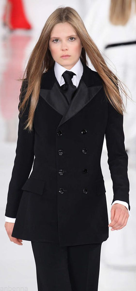 Ralph Lauren. Ok, the model looks roughly about 12, but I like the menswear look on women.