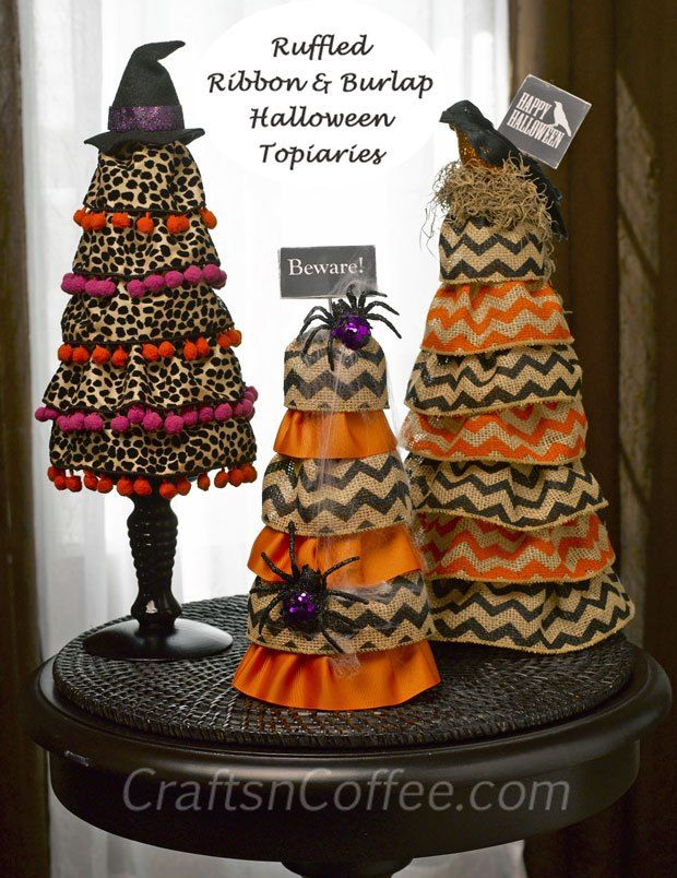 Terrie, you should seriously make these!  They would look super cute with your Halloween ornaments.  Super easy Ruffled Burlap Halloween Cones made with wired ribbon. #Burlap #Halloween #Decorating