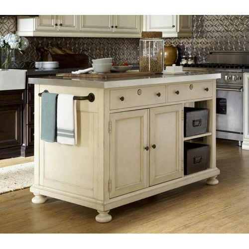 Paula Deen Home River House Kitchen Island with Stainless Steel Top