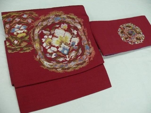 red w/ floral pattern obi