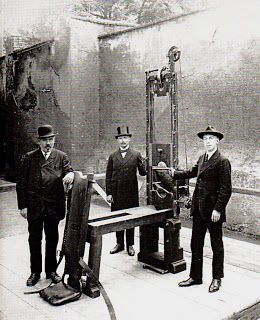 Above and below are photographs of the very guillotine used to execute Sophie Scholl, brave resister of the German Nazi Fascists of WWII. Johann Reichhart, the actual executioner of Scholl, is pictured above. It is estimated that Reichhart executed up to 3,000 condemned prisoners, most of them resisters of  the Nazi regime.