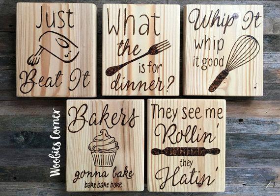 Funny kitchen signs, SET OF FIVE, Wood kitchen signs, Rustic kitchen sign, Kitchen Quotes, kitchen decor, kitchen wall decor, kitchen humor