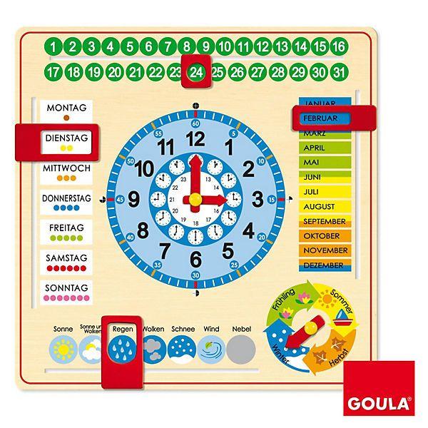 Die Kalenderuhr zum spielerischen Lernen der Uhrzeit!<br /> <br /> Diese Kalenderuhr erleichtert das spielerische Lernen der Monate, Jahreszeiten, Tage, Stunden und Minuten. Die Uhr enthält bewegliche Teile, die selbst für kleinere Kinder gut zu nutzen sind. Ein schönes Holz-Lernspielzeug, welches mitwächst vom Kleinkind- bis ins Grundschulalter.<br /> <br /> <br /> +++Details+++<br /> + Maße: 44 x 44 x 2,5 cm<br />...