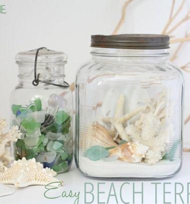 DIY Beach terrarium from a mason jar - summer decoration // Tengerparti hangulatú terrárium kagylókkal befőttes üvegből // Mindy - craft tutorial collection