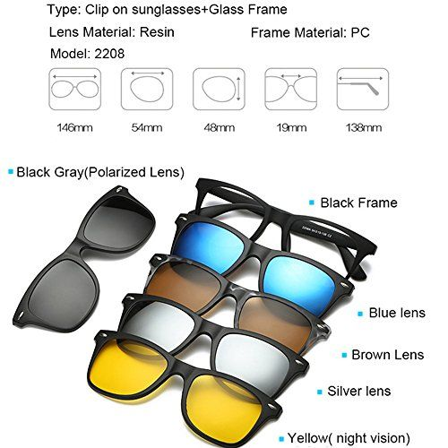 Uknow Magnetic 5Pcs Polarized Clip-on Sunglasses Plastic Frame for ...