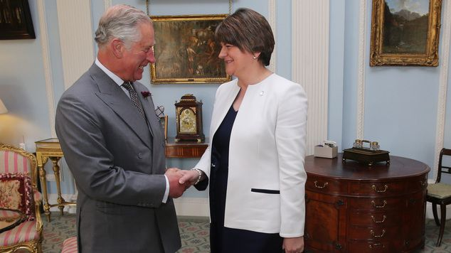 The Prince of Wales meeting Northern Ireland's First Minister Arlene Foster at Hillsboroug...