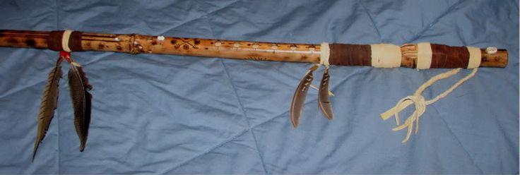 images of native american walking sticks beaded   Native American Style Flute Walking Stick For Sale in Trade Blanket ...