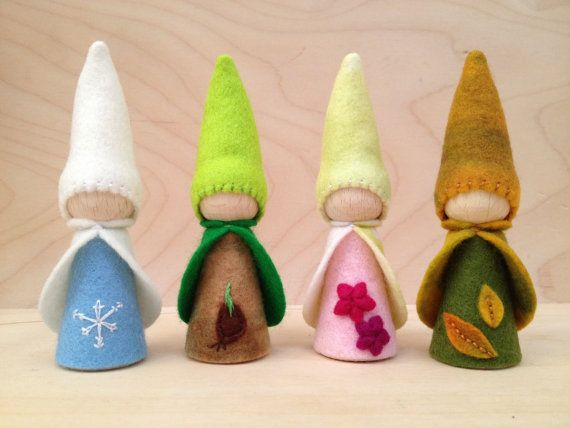 The 4 Seasons - Wooden Peg Gnomes - Winter, Spring, Summer, Fall - Waldorf and Montessori inspired