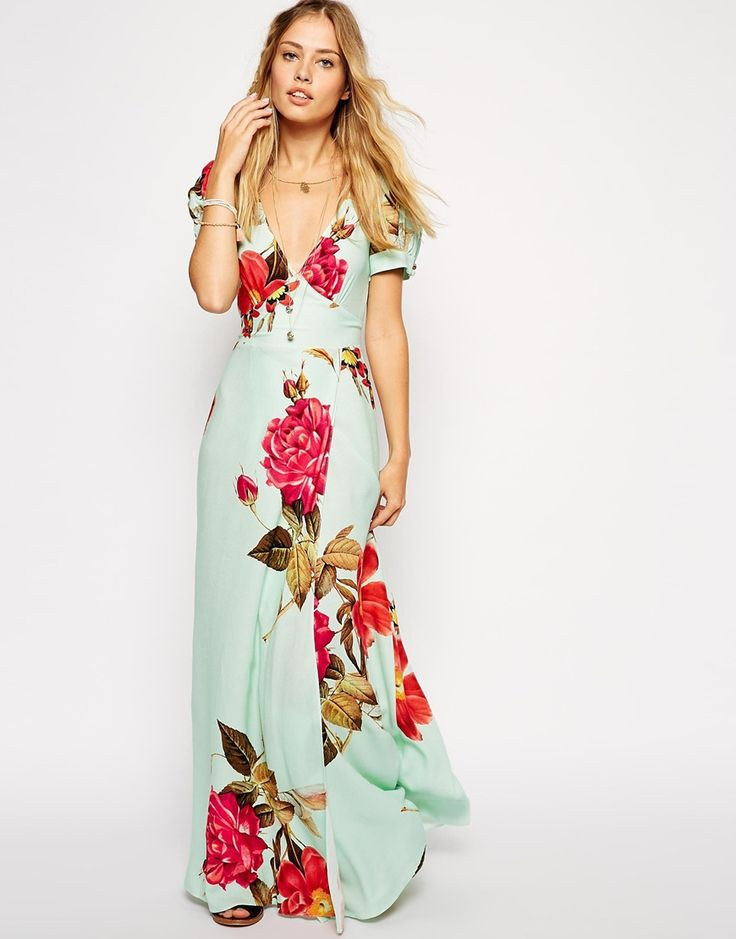 Romantic rose print dress to wear to a beach wedding or a special occasion